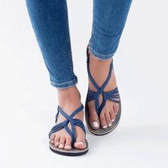 Frauen Stoff Flascher Absatz Sandalen Flache Schuhe mit Geflochtenes Band Schuhe