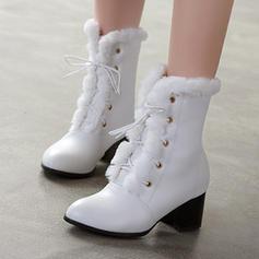 Donna PU Tacco a spillo Stivali alla caviglia con Allacciato scarpe