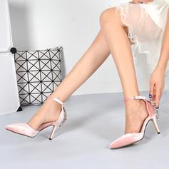 Dla kobiet Zamsz Obcas Stiletto Zakryte Palce Czólenka Sandały Z Klamra