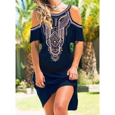 Print Short Sleeves Shift Above Knee Casual/Boho/Vacation Dresses