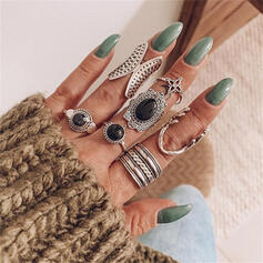 Boho Round Alloy With Diamond Rings 7 PCS