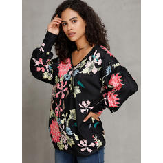 Polyester Print Floral Sweatshirt