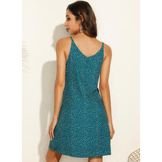 Print/PolkaDot Sleeveless Shift Above Knee Casual Slip Dresses