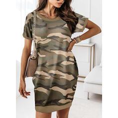 印刷/迷彩 半袖 シフトドレス 膝上 カジュアル Tシャツ ドレス