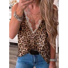 Estampado Renda Leopardo Decote em V Sem Mangas Casual Camisetas regata