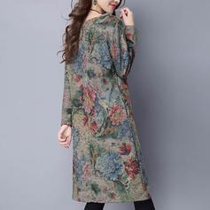 Floral Long Sleeves Sheath Knee Length Dresses