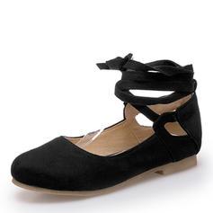 Femmes Suède Talon plat Chaussures plates Bout fermé Mary Jane avec Dentelle chaussures