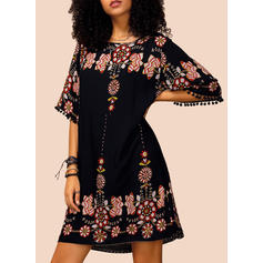 Print/Floral 1/2 Sleeves Shift Above Knee Casual/Boho/Vacation Dresses