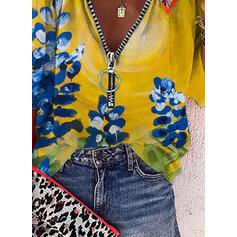 Nadruk Kwiatowy Dekolt w kształcie litery V Rękaw 3/4 Casual Bluzki