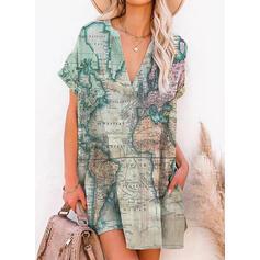 Распечатать С коротким рукавом Прямые платья Выше колена Повседневная Платья