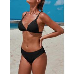 Color Sólido Correa Sexy Fresco Bikinis Trajes de baño