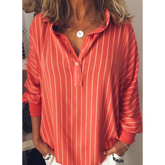 Striped Lapel Long Sleeves Button Up Casual Elegant Blouses