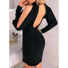 Solid Long Sleeves/Cold Shoulder Sleeve Bodycon Above Knee Little Black/Sexy/Casual Dresses