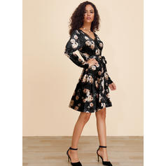 Lace/Print/Floral Long Sleeves A-line Knee Length Casual Dresses