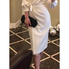 Solid Long Sleeves Sheath Wrap Casual/Elegant Midi Dresses
