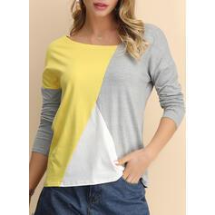 Color Block V-Neck Long Sleeves Casual Knit T-shirts