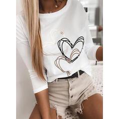 Cuore Stampa Girocollo Maniche lunghe Magliette