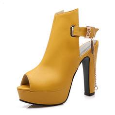 Frauen PU Stämmiger Absatz Sandalen Absatzschuhe Plateauschuh Peep Toe Slingpumps mit Kette Schuhe
