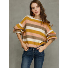 Color Block Striped Cable-knit Round Neck Sweaters