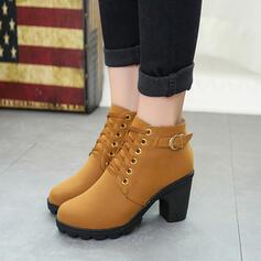 Dla kobiet PU Obcas Slupek Botki Z Klamra Sznurowanie obuwie