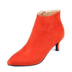 Dla kobiet Zamsz Obcas Stiletto Czólenka Zakryte Palce Kozaki Botki Kozaki do polowy lydki Z Zamek błyskawiczny obuwie