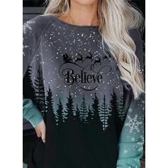 Print Figure Forest Round Neck Long Sleeves Christmas Sweatshirt