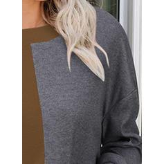 Χρωματικό μπλοκ Στρογγυλός Λαιμός Μακρυμάνικο Καθημερινό Блузки