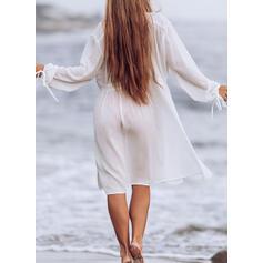 Couleur Unie Cordon de serrage Col V Sexy Tenues de plage Maillots De Bain