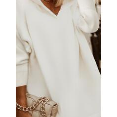 Jednolity cekiny Długie rękawy Bluza z kapturem