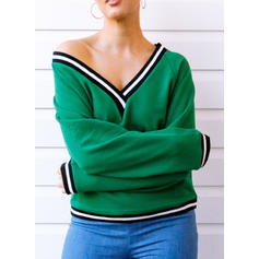 Polyester Striped Sweat-shirts