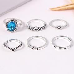 Fashionable Alloy Rhinestones With Rhinestone Women's Rings (Set of 6)