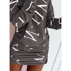 Print Lange Mouwen Bodycon Boven de knie Casual Sweatshirts Jurken