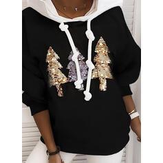 cekiny Długie rękawy Świąteczna bluza