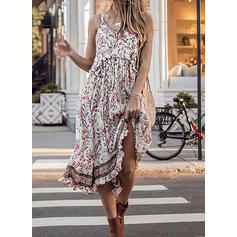 Print/Floral Sleeveless Shift Midi Casual/Boho/Vacation Dresses