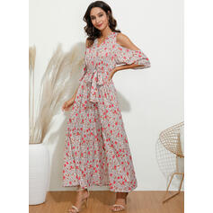 Print/Floral 3/4 Sleeves A-line Wrap/Skater Casual/Elegant/Vacation Maxi Dresses