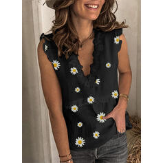 Print Floral Patchwork Lace V-Neck Sleeveless Casual Sexy Tank Tops