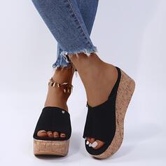 婦人向け PU ウエッジヒール サンダル ウェッジ スリッパ とともに リベット 靴