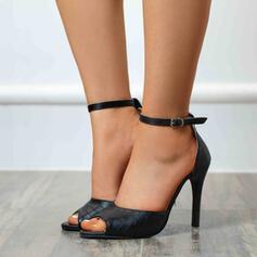 婦人向け PU スティレットヒール サンダル ポンプ ピープトウ かかと とともに バックル ソリッドカラー 靴