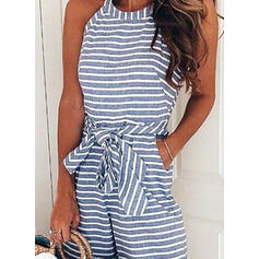 Striped Round Neck Sleeveless Casual Vacation Romper