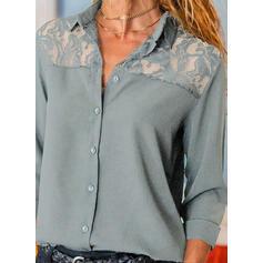 Düz / Tek (Renk) Dantel klapa Uzun kollu Düğmesiz Yakalı Günlük Gömlekler