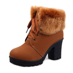 Жіночі ПУ Квадратні підбори Бокові черевики з Зашнурувати Хутро взуття