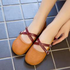 Donna PU Senza tacco Ballerine Punta chiusa con Fibbia scarpe
