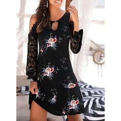 Lace/Print/Floral Long Sleeves Sheath Above Knee Casual/Vacation Dresses