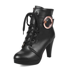 Femmes Similicuir Talon stiletto Plateforme Bottes Bottes mi-mollets avec Boucle chaussures