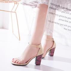 Women's Suede Chunky Heel Sandals Pumps Peep Toe With Sequin Buckle shoes