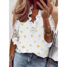 Print Floral Lace Cold Shoulder 1/2 Sleeves Casual Blouses