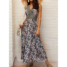 Lace/Print/Floral Sleeveless A-line Skater Casual/Vacation Maxi Dresses