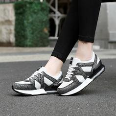 Mulheres Espumante Glitter Tecido Casual Outdoor Caminhada com Aplicação de renda sapatos
