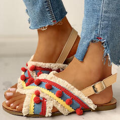 De mujer Tejido Tacón plano Sandalias Encaje Pantuflas con Hebilla zapatos