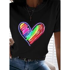 Coração Estampado Gola Redonda Manga Curta Camisetas